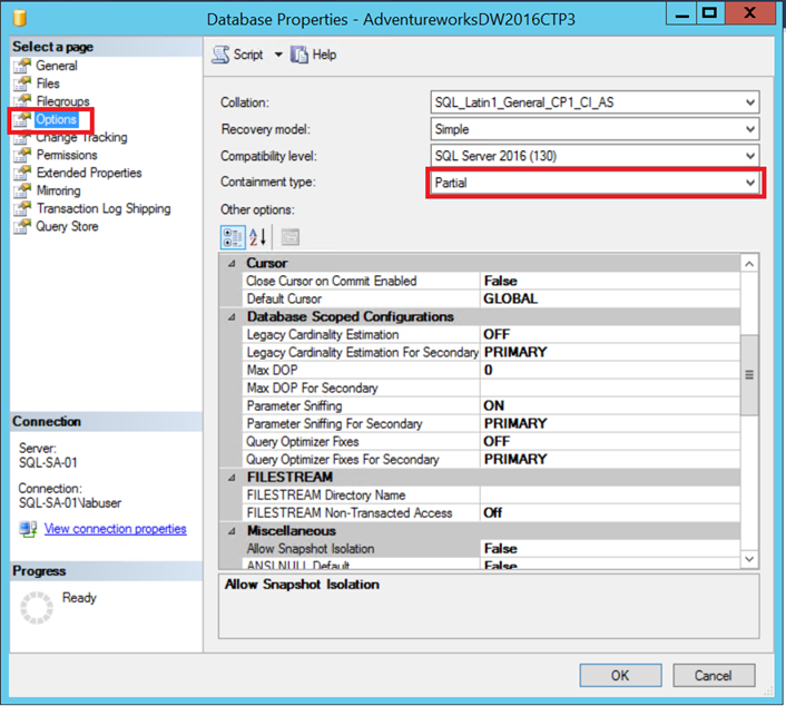 SQL Server 2016 Exploring Contained Databases