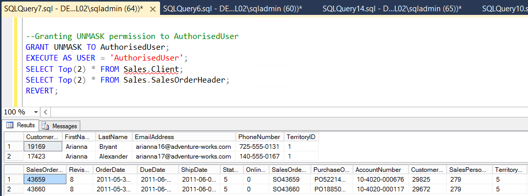 SQL Server 2016 Dynamic Data Masking and Row-Level Security